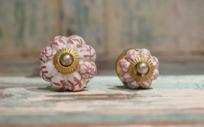 Painted Porcelain Door Knobs - Pink